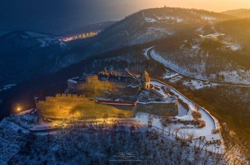 Egri vár légifotó télen
