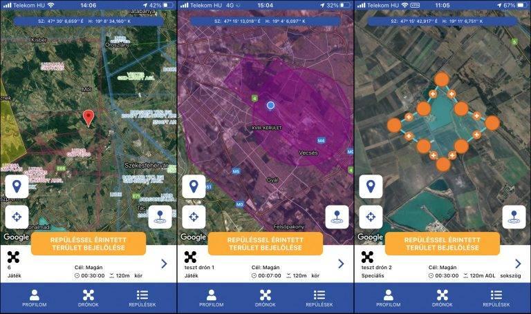 Képernyőképek a mydronespace mobilalkalmazásról